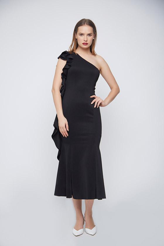 Bodycon Black Punto Dress - Front