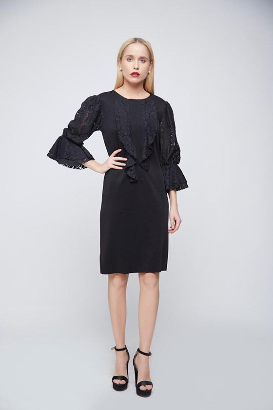 Black Lace Evening Dress - Front