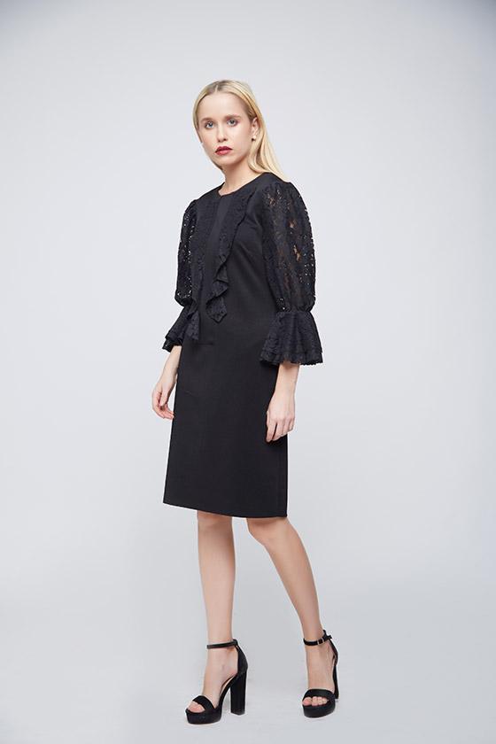 Black Lace Evening Dress - Back