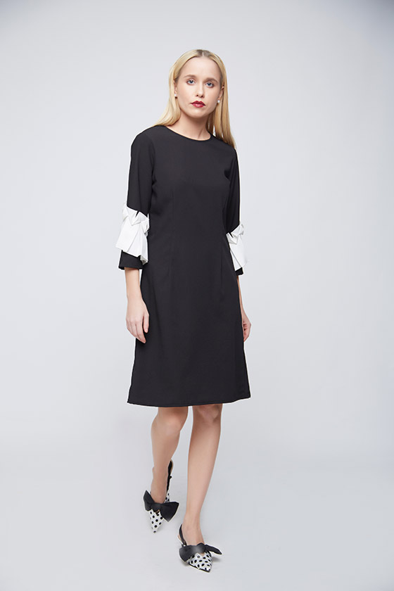 Black Sheath Square Ruffle Dress - Front
