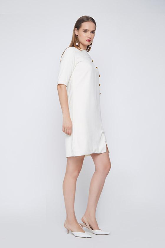 Royal Evening White Dress - Back