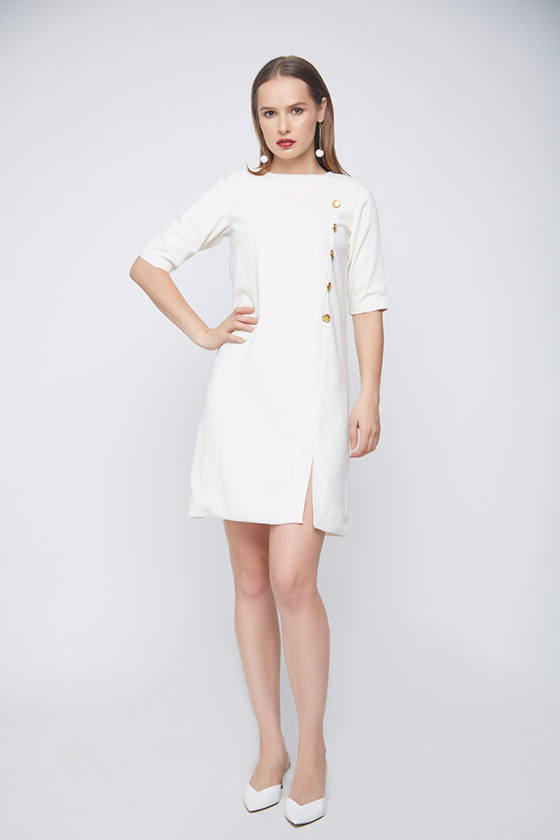 Royal Evening White Dress - Front