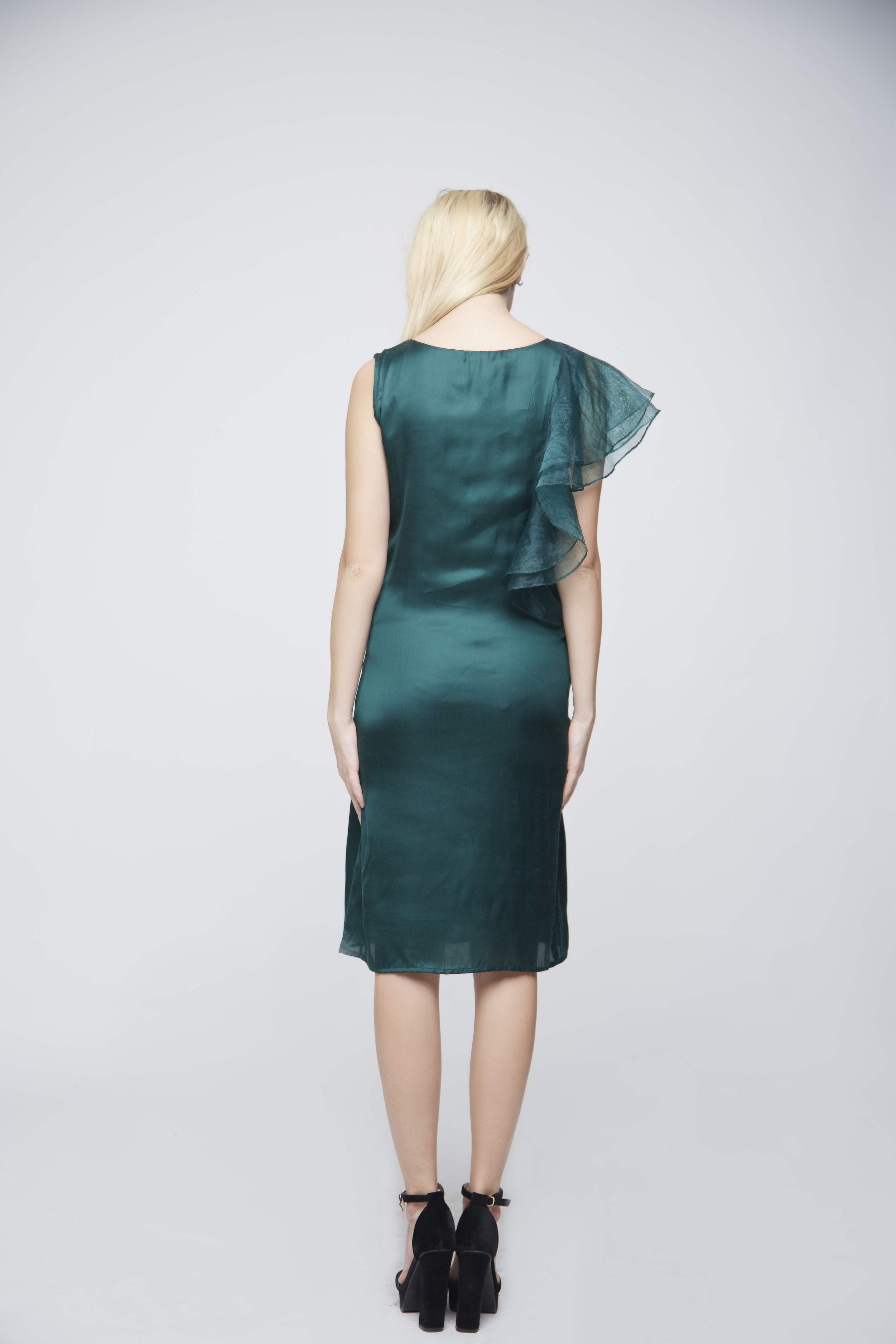 Green Double Sleeve Ruffle Evening Dress -3