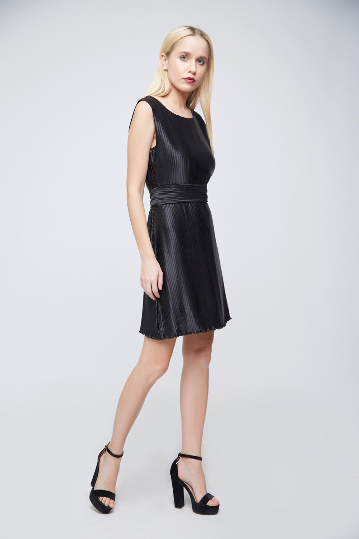 Pleated Black Dress -0