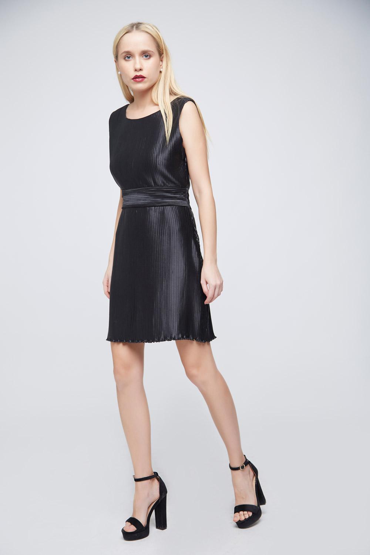 Pleated Black Dress - Back
