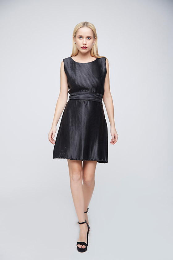 Pleated Black Dress - Front