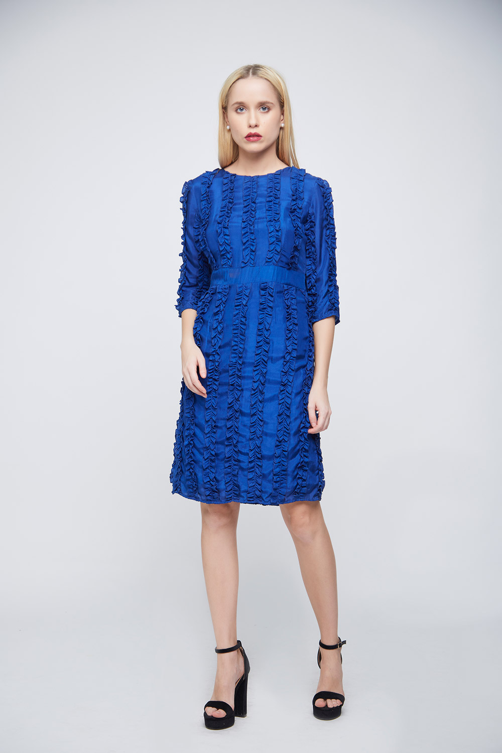 Ruffle Blue Dress -0
