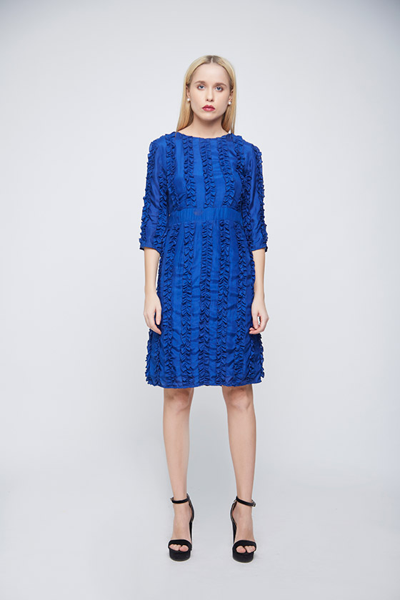Ruffle Blue Dress - Front