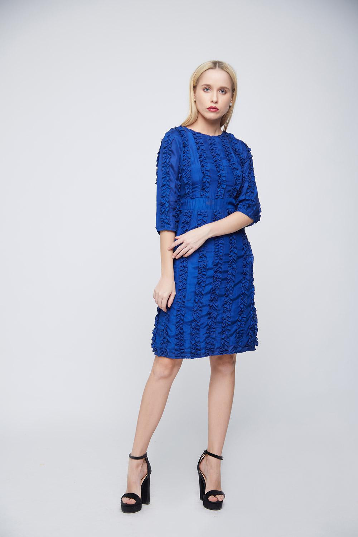 Ruffle Blue Dress - Back