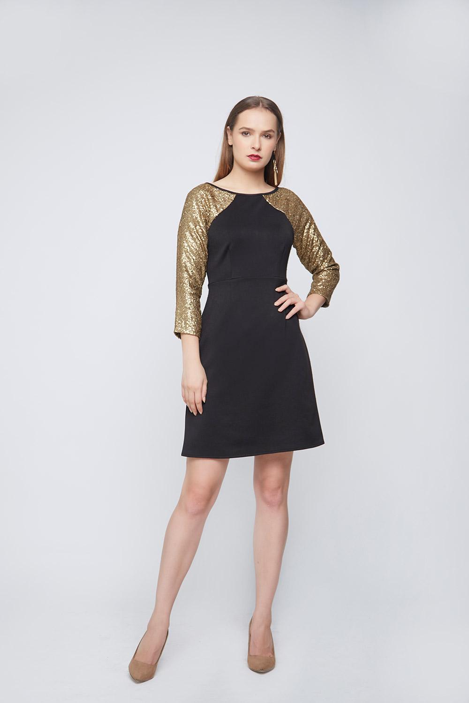 Black Gold Sleeve Dress -2