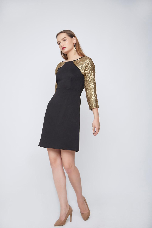 Black Gold Sleeve Dress -3