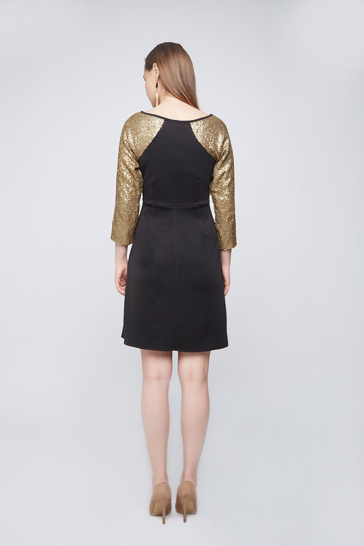 Black Gold Sleeve Dress -1