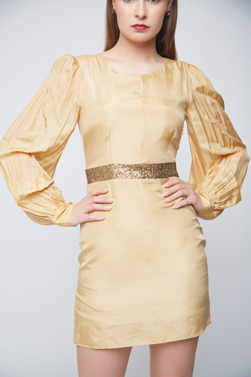 Gold Silk Sequin Dress -1