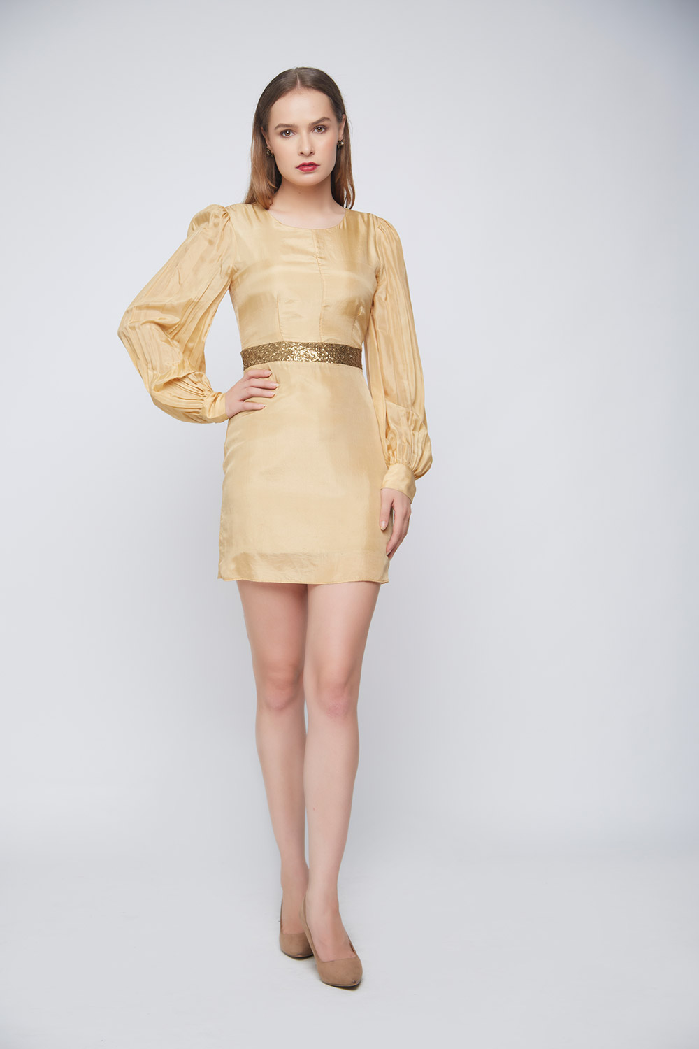 Gold Silk Sequin Dress -0