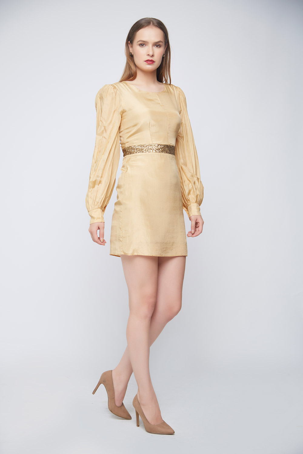 Gold Silk Sequin Dress -2