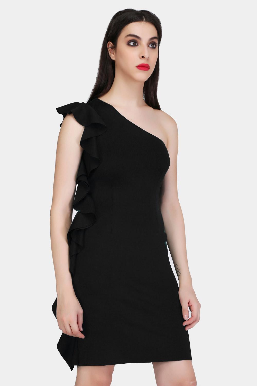Black Bodycon Ruffle Dress -1