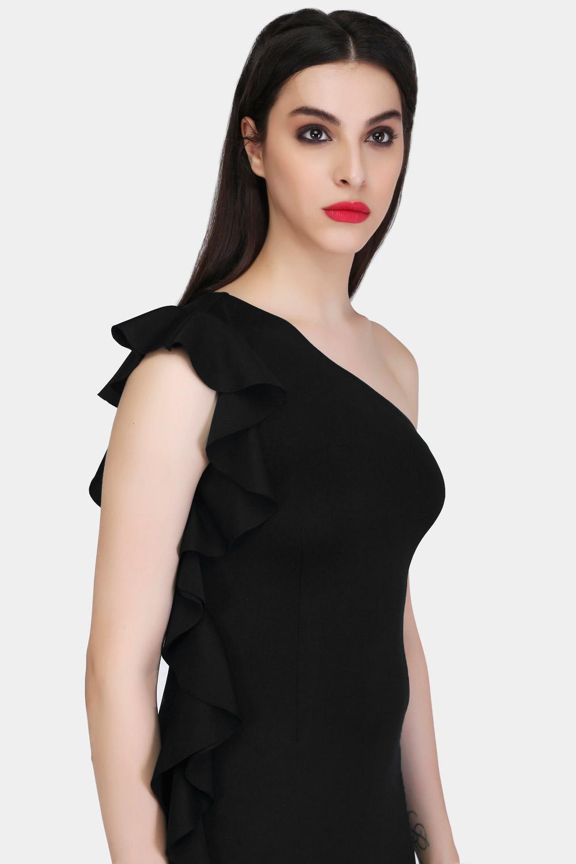 Black Bodycon Ruffle Dress -2