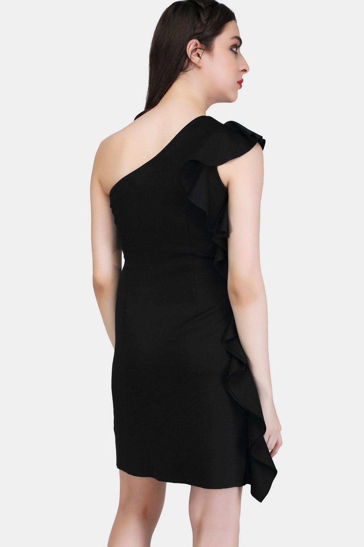 Black Bodycon Ruffle Dress -3