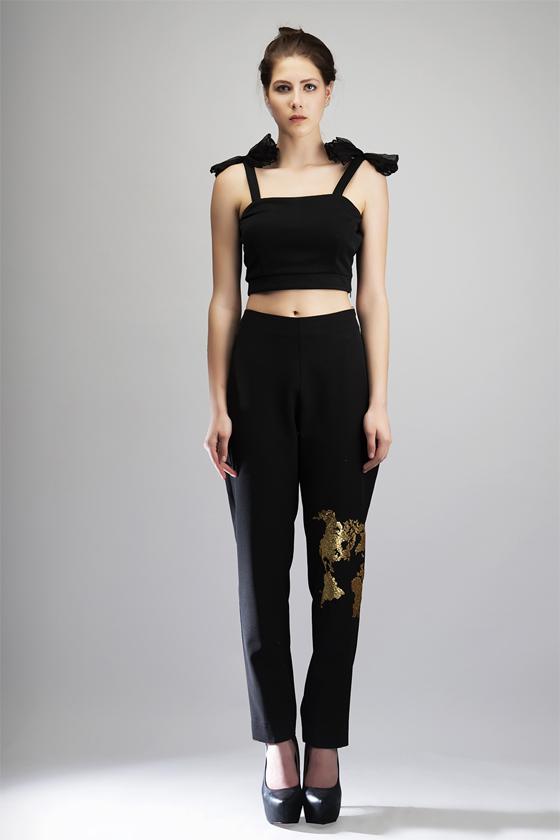 Black Gold Sequin Pant - Front