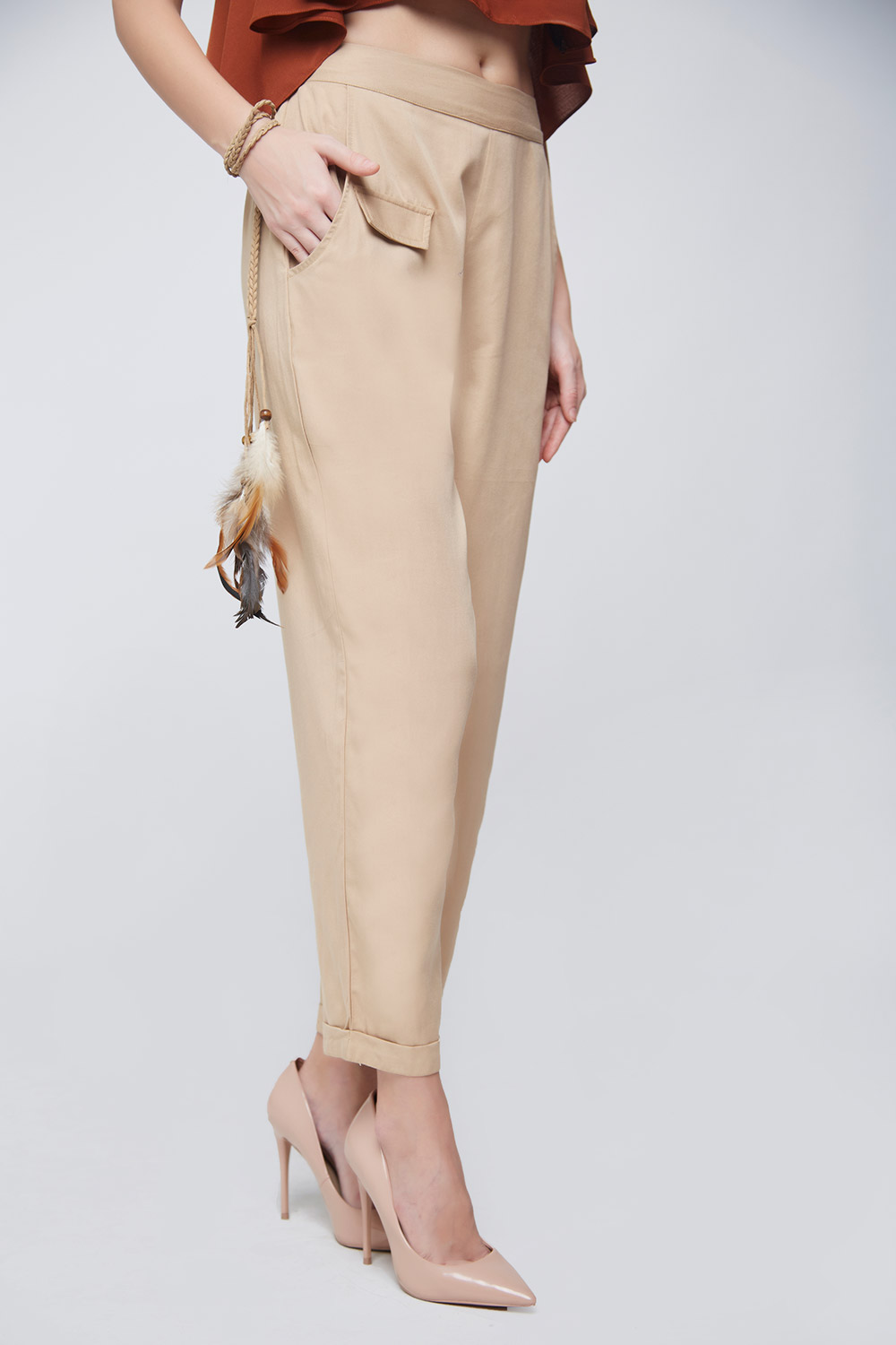 Beige Twill Trouser - Main