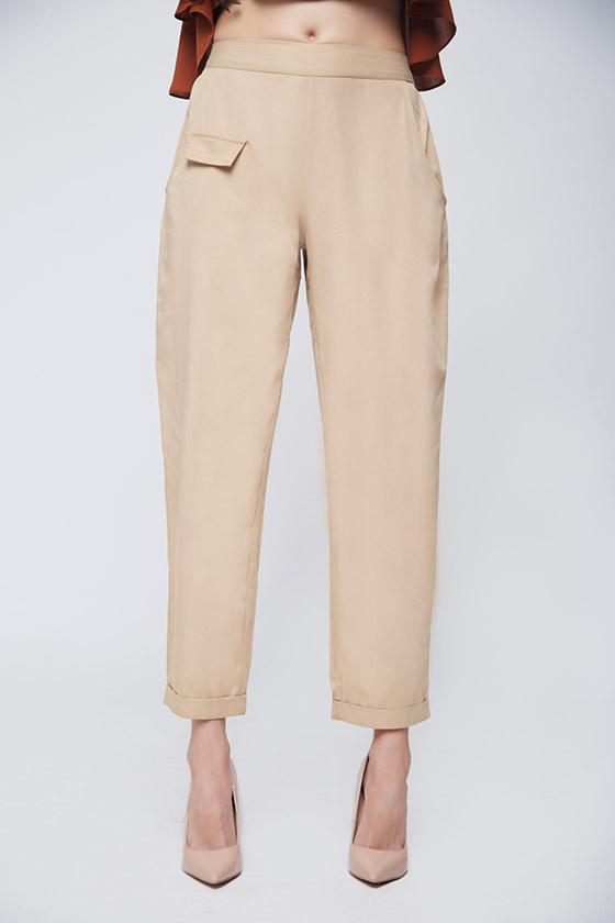 Beige Twill Trouser - Front