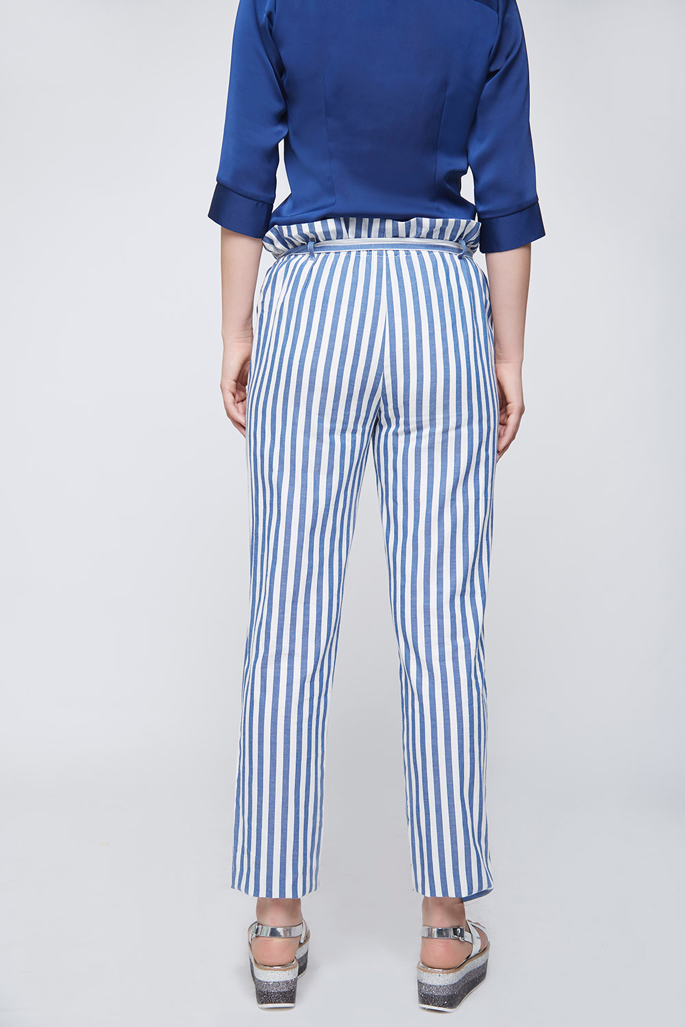 Ruffle Waist Striped Trouser -1