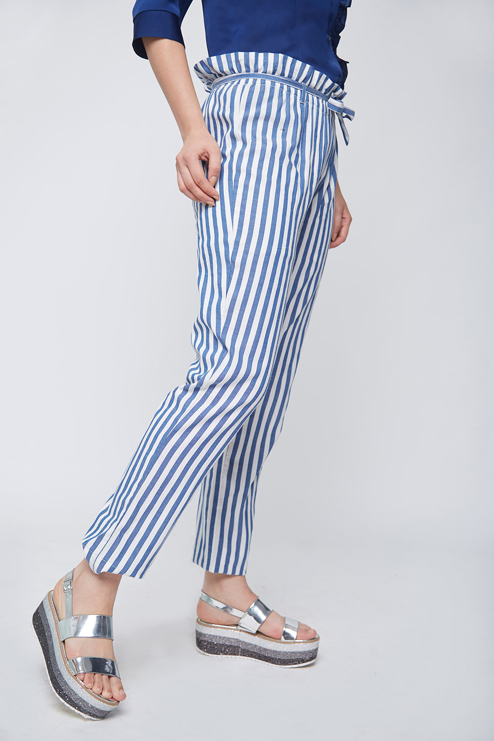 Ruffle Waist Striped Trouser -3