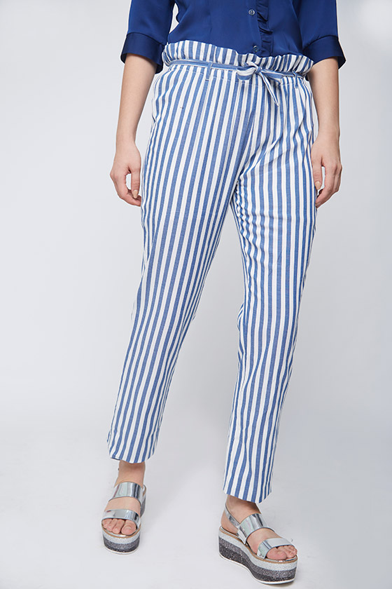 Ruffle Waist Striped Trouser - Front