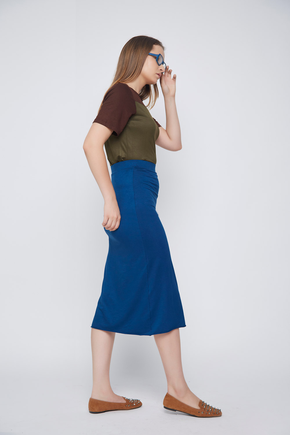 blue casual skirt - Main