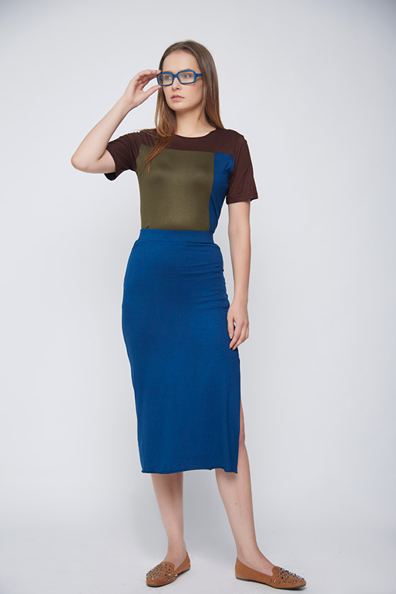 blue casual skirt - Front