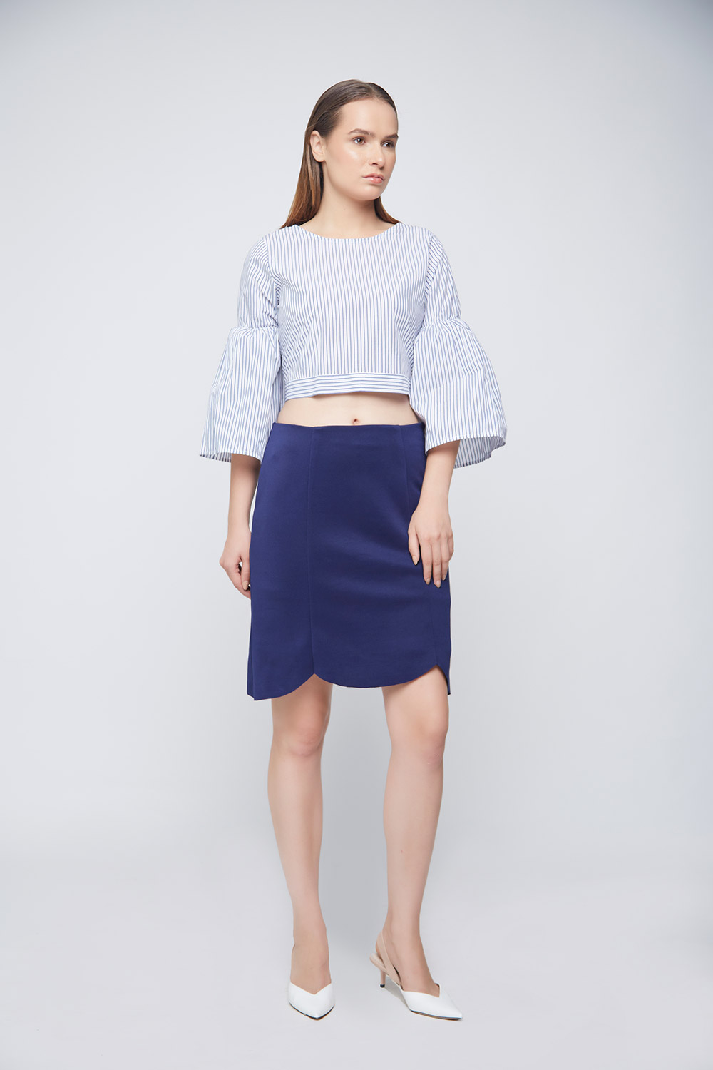 Blue Scalloped Skirt -0