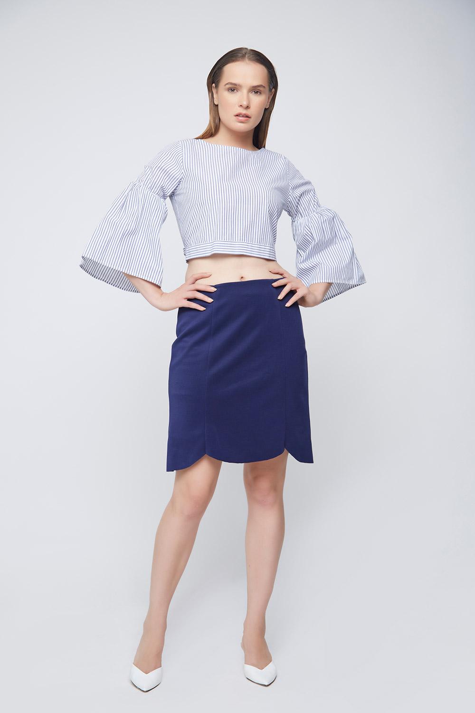 Blue Scalloped Skirt -3