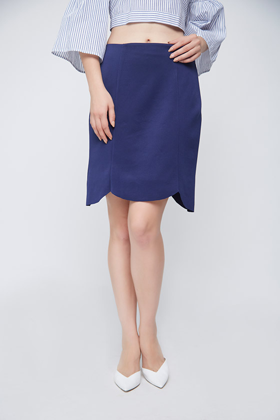 Blue Scalloped Skirt - Front