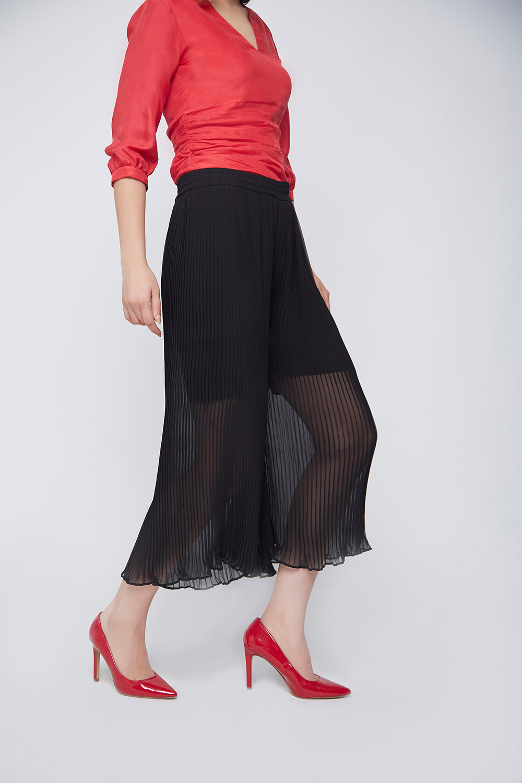 black pleated culottes -2