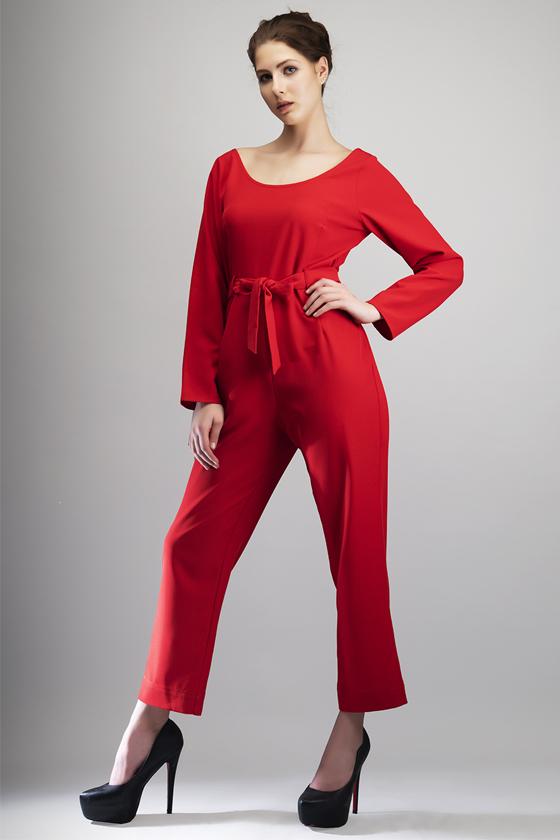 Red Glitter Evening Wear Jumpsuit - Back