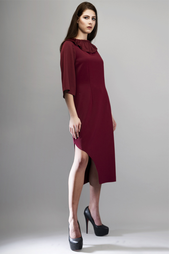 Wine Side Cut Ruffle Dress - Back